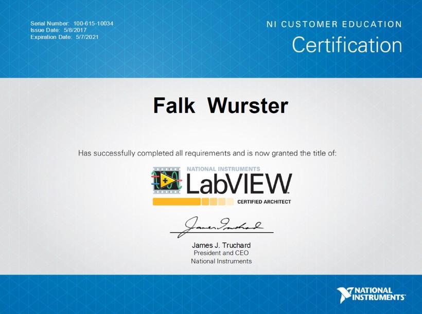 Zertifikat Falk Wurster Certified LabVIEW Architect