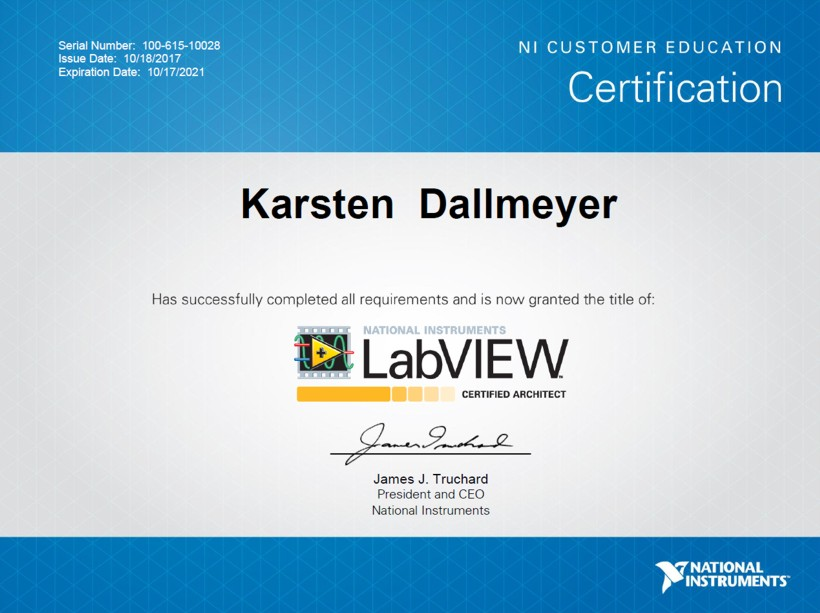 Zertifikat Karsten Dallmeyer Certified LabVIEW Architekt