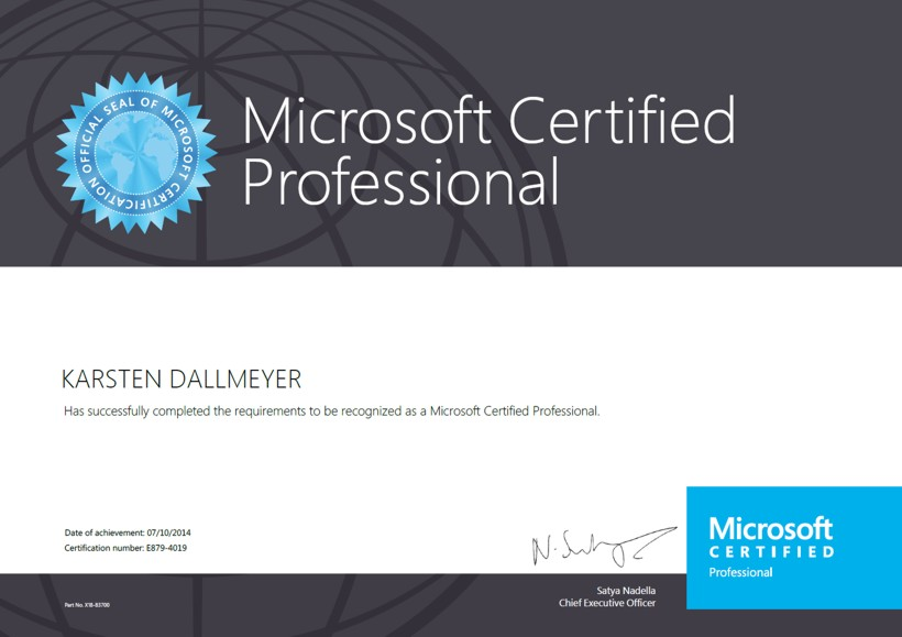 Zertifikat Karsten Dallmeyer Microsoft Certified Professional